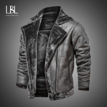Winter Mens PU Jacket Faux Fur Collar Coats Thick Warm Men's Motorcycle Jacket 2020 New Fashion Windproof Leather Coat Male