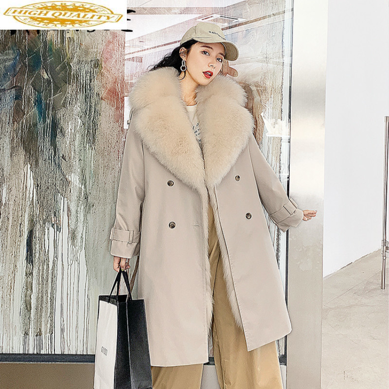 Real Fur Coat Winter Coat Women Clothes 2019 Korean Fox Fur Coat Women Fox Fur Collar Warm Real Fur Parka Manteau Femme YY1982
