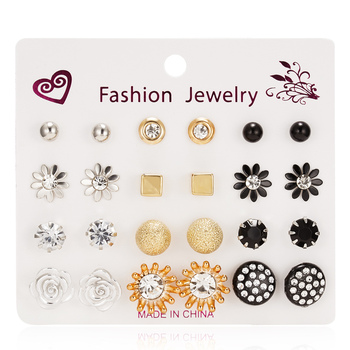 12 Pairs/set Stud Earrings Set With Card Transparent Zircon Balls Love Flowers Earrings Women Imulated Pearl Earrings Jewelry