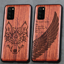 3D Carved Wood Cartoon Bear Case For Huawei Honor View 30 Pro View30 Dragon Lion Wolf Tiger Tree wooden carve Cover
