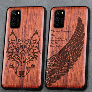 Image 1 - 3D Carved Wood Cartoon Bear Case For Huawei Honor View 30 Pro View30 Dragon Lion Wolf Tiger Tree wooden carve Cover