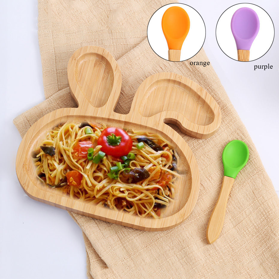 Suction Bowl Bamboo Silicone Cup Baby Plate Feeding Bamboo Children Tableware Dishes Baby Bowl Spoon Feeding Bowl Dinnerware Boy