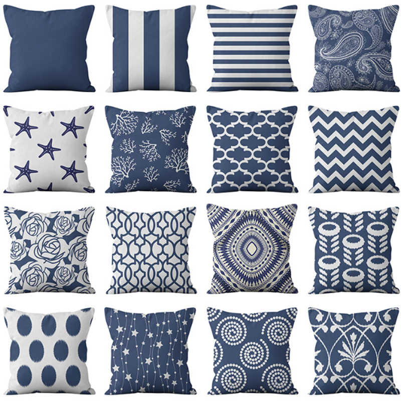 nordic gemocratic stripe linen decorative throw pillows navy pillowcases for sofa chair seat car home decoration cushion cover