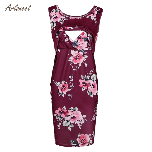 ARLONEET Women's Maternity Floral Print Sleeveless Dresses 4