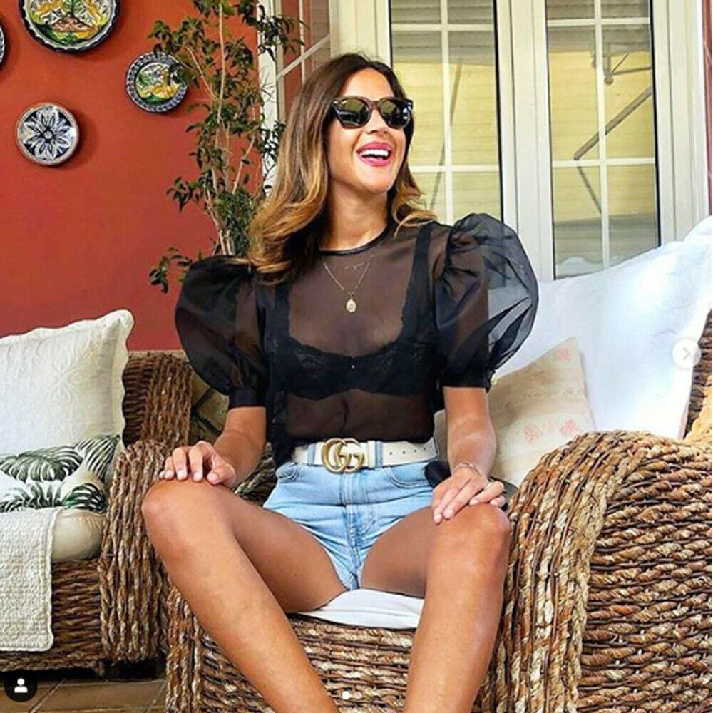 Elegant Vintage Womens Short Puff Sleeve See-through Mesh Sheer Crop Tops Ladies Sexy Slim Fit Shirt Blouse Tank Tops