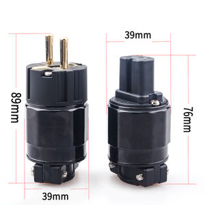 Image 2 - Xangsane hi fi 1 set 24K Gold Plated Power Plug EU version power plug  red copper Gold Plated power plug