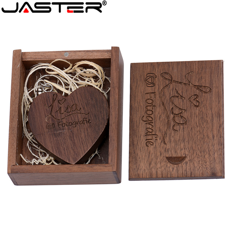 JASTER Wooden Heart Love+box Personalized LOGO Usb Flash Drive 4GB 8GB 16GB 32GB 64GB Usb 2.0 Photography