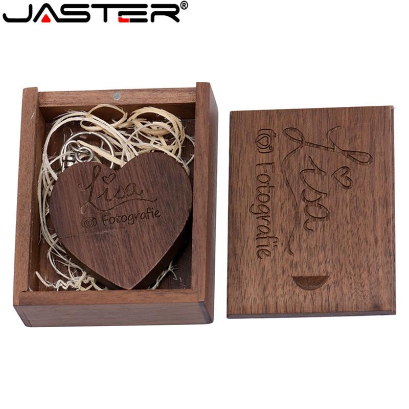 JASTER Wooden Heart Love+box Personalized LOGO Usb Flash Drive 4GB 8GB 16GB 32GB 64GB Usb 2.0 Photography