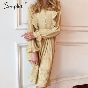Image 2 - Просто, элегантно женское платье в горошек шикарное Плиссированное длинное вечернее платье с оборками на рукавах Повседневная рабочая одежда женское осенне зимнее теплое платье