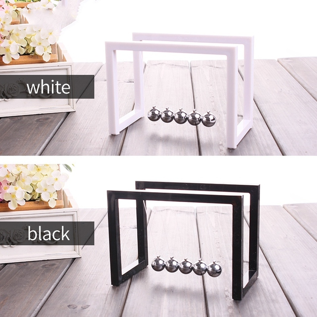 Newton Balls Cradle Balance Ball Newtons Pendulum Ornaments Home Decorations Desk Decoraction Toy Gift Black 4