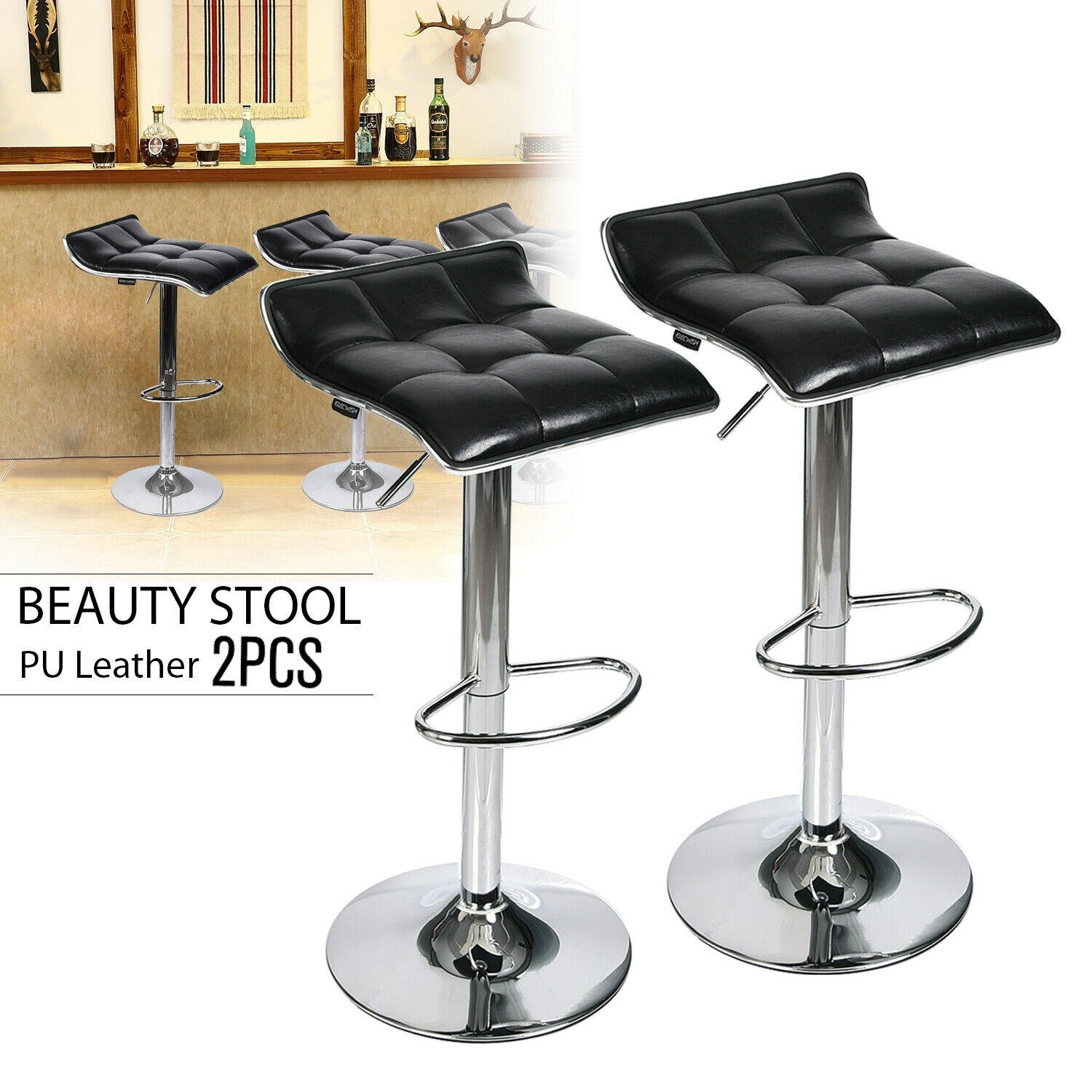 Set Of 2 Bar Stool Adjustable Swivel Leather Seat Counter Dining Chair Kitchen