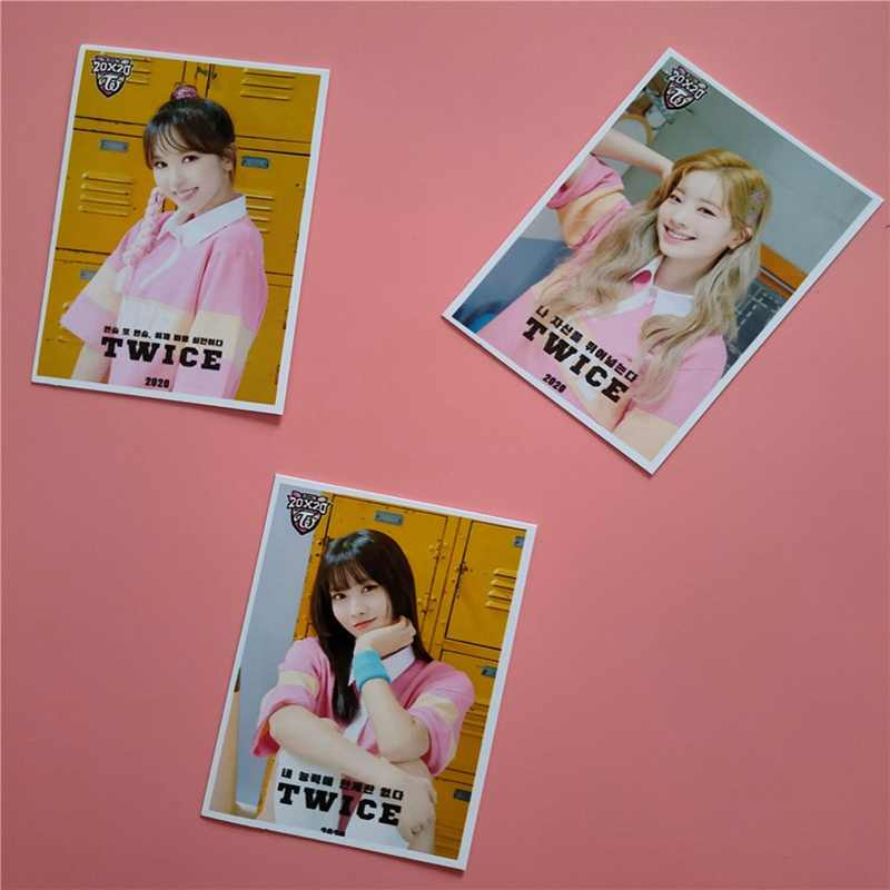 16 יח'\סט KPOP פעמיים בנות פעמיים 2020 עונה ברכה אלבום תמונה כרטיס PVC כרטיסי עצמי Made LOMO כרטיס Photocard