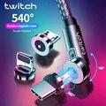 Магнитный зарядный кабель Twitch 3 в 1 для Huawei, iPhone, Micro Type C, 3 А, зарядный провод для Samsung, вращающийся шнур 540