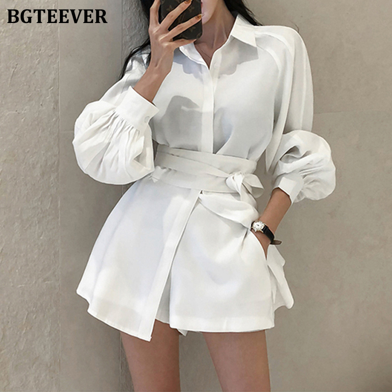BGTEEVER Casual Short Suits For Women Lace Up Puff Sleeve Blouse & Wide Leg Shorts 2020 Summer Pant Suits Female 2 Pieces Set