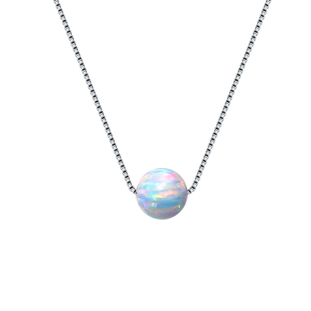 Silver Necklace 925 Sterling Silver Necklace For Women 5mm Opals Silver Chain 925 Fine Elegant Jewelry Gift