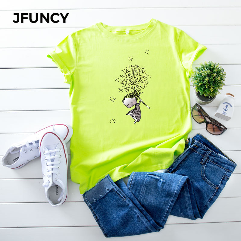 JFUNCY Plus Size 5XL Women T Shirts Fashion Print Short Sleeve Summer Cotton T-Shirt Female Tops Oversized Woman Casual Tshirt 1