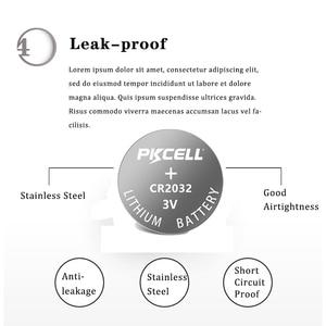 Image 5 - 100Pcs PKCELL CR2032 3V button cell 2032 BR2032 DL2032 SB T15 cr 2032 EA2032C ECR 2032 3V lithium battery coin batteries 220mah