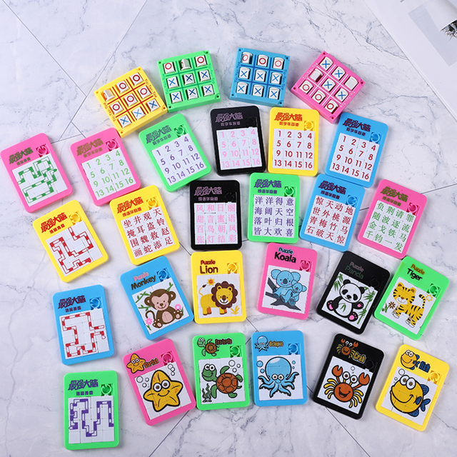 3D Slide Puzzle Alphabet Early Educational Developing Toy for Children Jigsaw Digital Number 1-16 Animal Cartoon Game Kids Toys 1