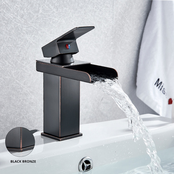 Bathroom Waterfall Basin Sink Faucet Black Faucets Brass Bath Faucet Hot&Cold Water Mixer Vanity Tap Deck Mounted Washbasin tap 15