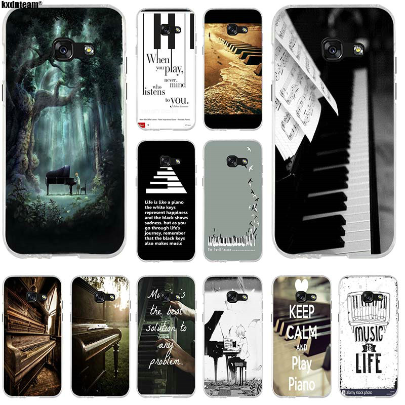 Silicone Soft Transparent Mobile Phone Cases For Samsung Galaxy J1 J2 J3 J5 J7 A3 A5 A7 2015 2016 2017 Music Software Piano Plug image