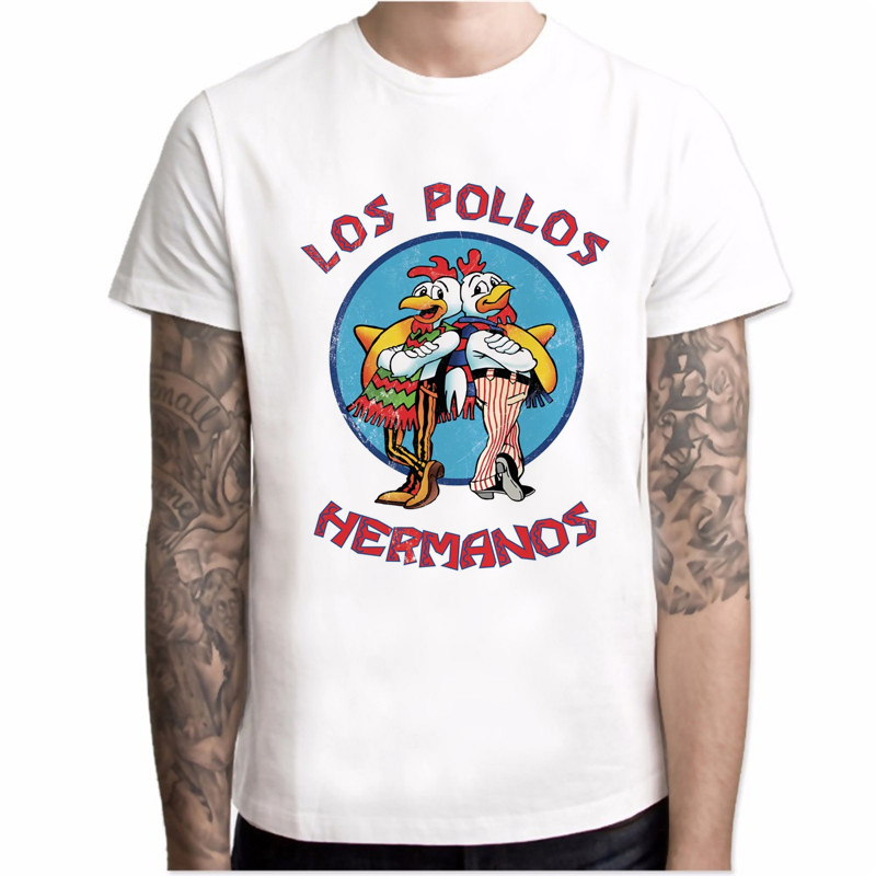 New T Shirt Men Fashion Breaking Bad Shirt LOS POLLOS Hermanos Chicken Brothers Short Sleeve Tee Hipster Hot Sale Tops Men's Tee