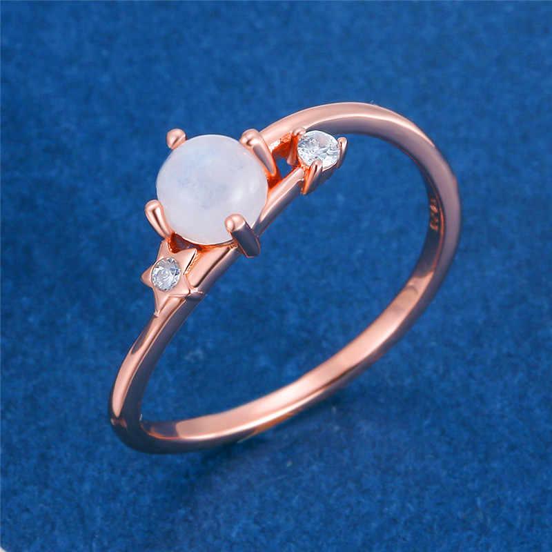 女性ラウンド天然ムーンストーンリング 100% 925 スターリングシルバー愛婚約指輪ヴィンテージスモールウェディングバンドリング