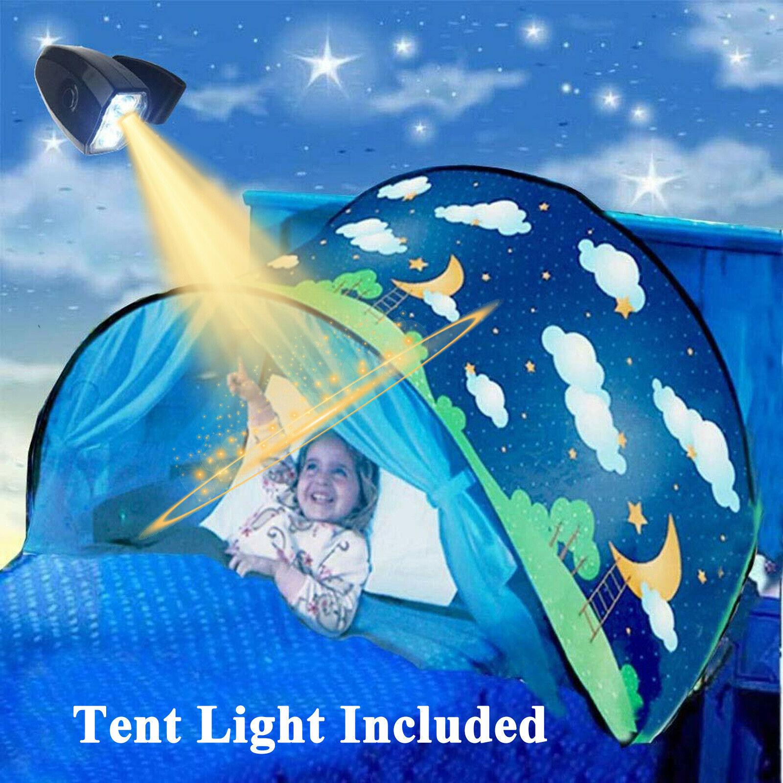 키즈 드림 침대 텐트 라이트 스토리지 포켓 어린이 소년 소녀 밤 잠자는 접이식 팝업 매트리스 텐트 플레이 하우스 유니콘