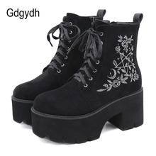 Gdgydh Fashion Flower Platform Boots Chunky Punk Suede Leather Womens Gothic Shoes Nightclub Lace Up Back Zipper High Quality