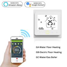 Inteligentne wifi termostat regulator temperatury wody elektryczne ciepłe ogrzewanie podłogowe kocioł gazowy wody współpracuje z Echo Google Home Tuya tanie tanio MOES BHT-002 95-240VAC 50~60HZ Resistance5A Inductive3A Resistance3A Inductive1A NTC3950 10K +-0 5 C 5 -35 C 5 ~ 99 C
