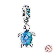 Nova cor de prata original oceano azul tartaruga diy talão charme caber europeu pandora encantos pulseira pulseiras jóias diy p485