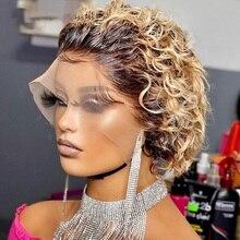 Mel loira perucas de cabelo humano 13x4 curto bob frente do laço perucas pré arrancadas pixie corte peruca cabelo humano peruca colorida 150% densidade