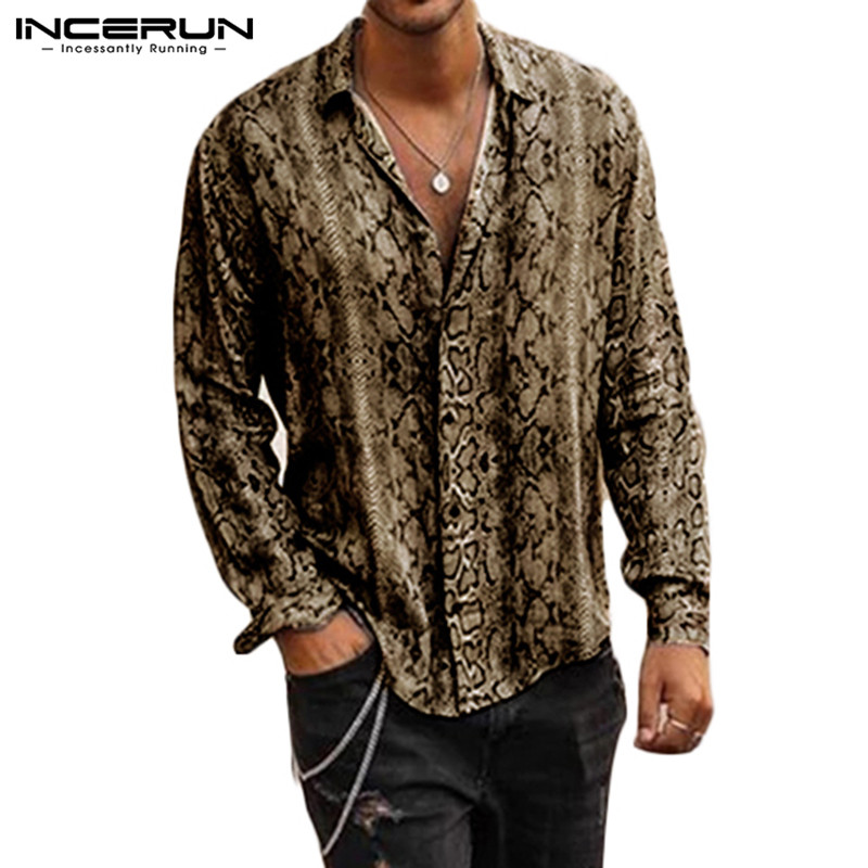 INCERUN Fashion Printed Shirt Men Long Sleeve Lapel Neck Cool Personality Basic Button Casual Men Shirts Camisa Streetwear 2020