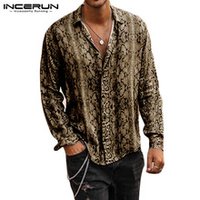 Printed Shirt Long-Sleeve INCERUN Fashion Camisa Basic-Button Streetwear Men Cool Neck