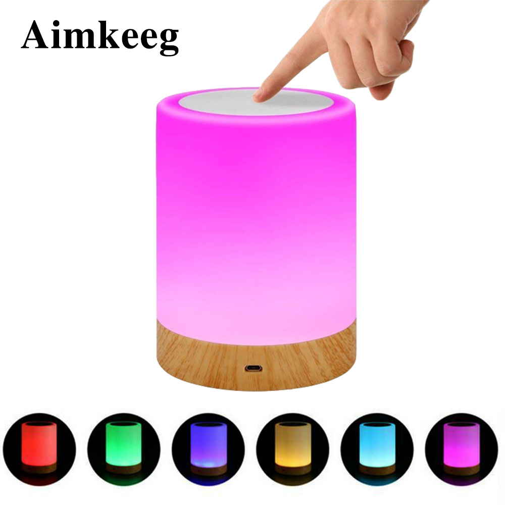 LED night light RGB rechargeable USB creative smart touch dimming portable nursing bedside table child baby eye protection lamp