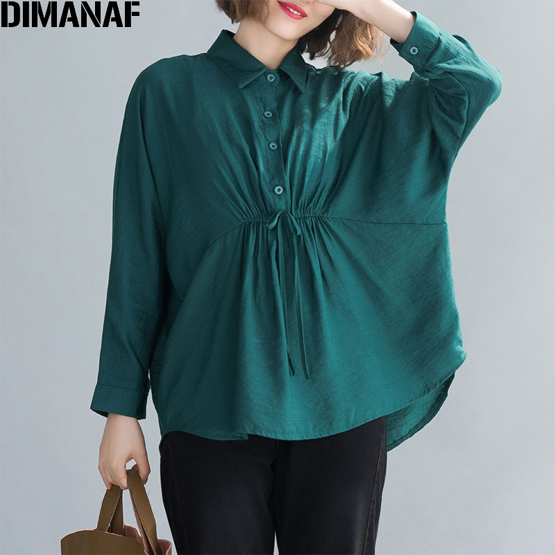 DIMANAF Plus Size Women Blouse Shirts Spring Office Lady Tops Tunic Solid Cotton Linen Casual Loose Long Sleeve Pleated Cardigan