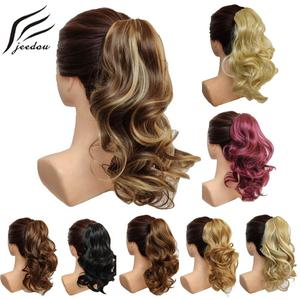 jeedou Short Wavy Ponytail Hair Extensions Claw Ponytails Synthetic 16