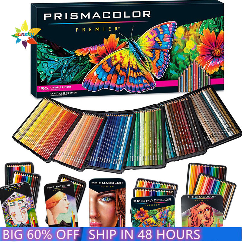 new original 24 48 72 132 150 prismacolor Premier oil Color pencil sanford hand drawing sketch Pencil art School Supply tin box