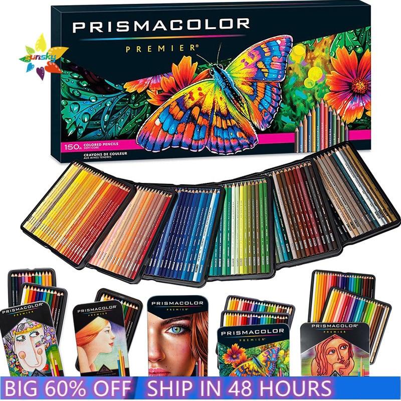Новый оригинальный 24 48 72 132 150 Призма Цвет Premier масляный цветной карандаш Цвет карандаш Санфорд ручной карандаш для рисования скетчей арт шко...