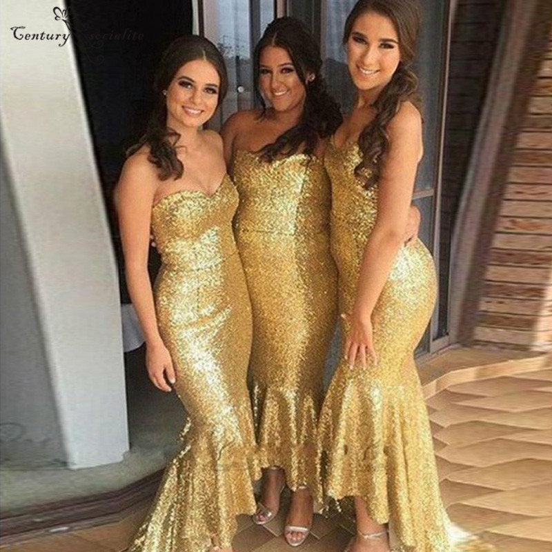Hi-Lo Gold Mermaid   Bridesmaid     Dress   2019 Sweetheart Corset Back Charming Maid Of Honor   Dress   Prom   Dress   Wedding Guest Gowns