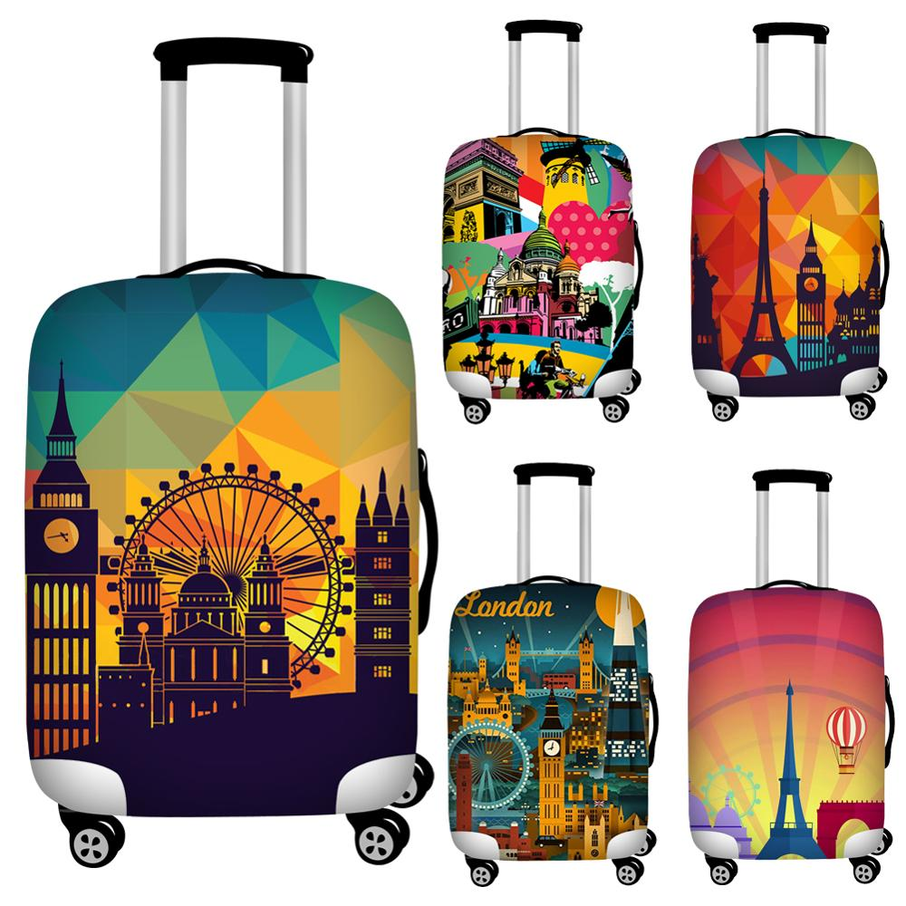 18-32 Inch Vintage Luggage Cover  Dust-proof Trolley Case Suitcase Cover Elastic Fabric Baggage Protective Covers