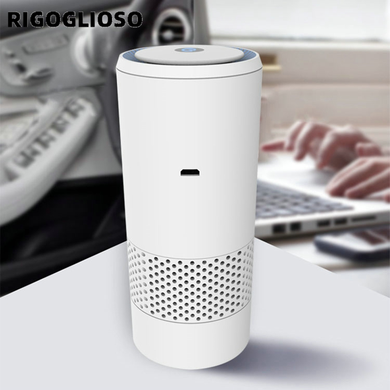 RIGOGLIOSO Car Air Purifier For Home Air Freshener Hepa Filter Ionizer Sterilization Remove Dust Cigarette Odor Air Cleaner