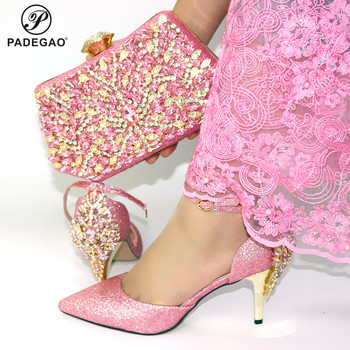 Pink 2020 New Arrivals Matching Shoes and Bag Set In Heels Matching Shoes and Bag Set for Italian Party with Crystal For Party