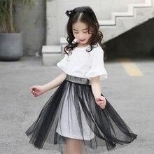 цена на Girls Outfits Summer 2020 Children Short Sleeve T-shirt Skirt Sets Cotton Flower Print Long Sleeve Tee Shirts Toddler Clothes