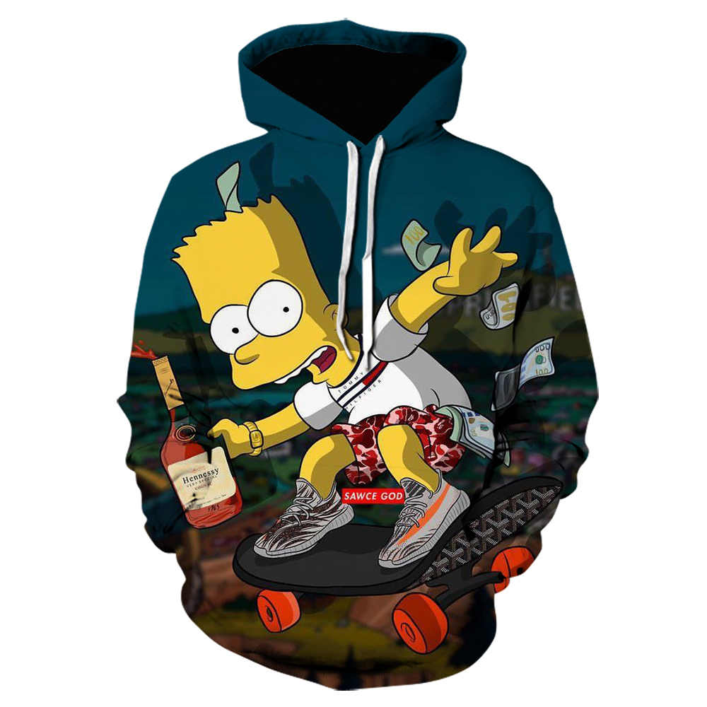 Seltsame dinge 3D Gedruckt hoodies Cartoon Simpsons hoodie off white anime Pullover Casual Sweatshirts kühle Komfort jacke s-5xl