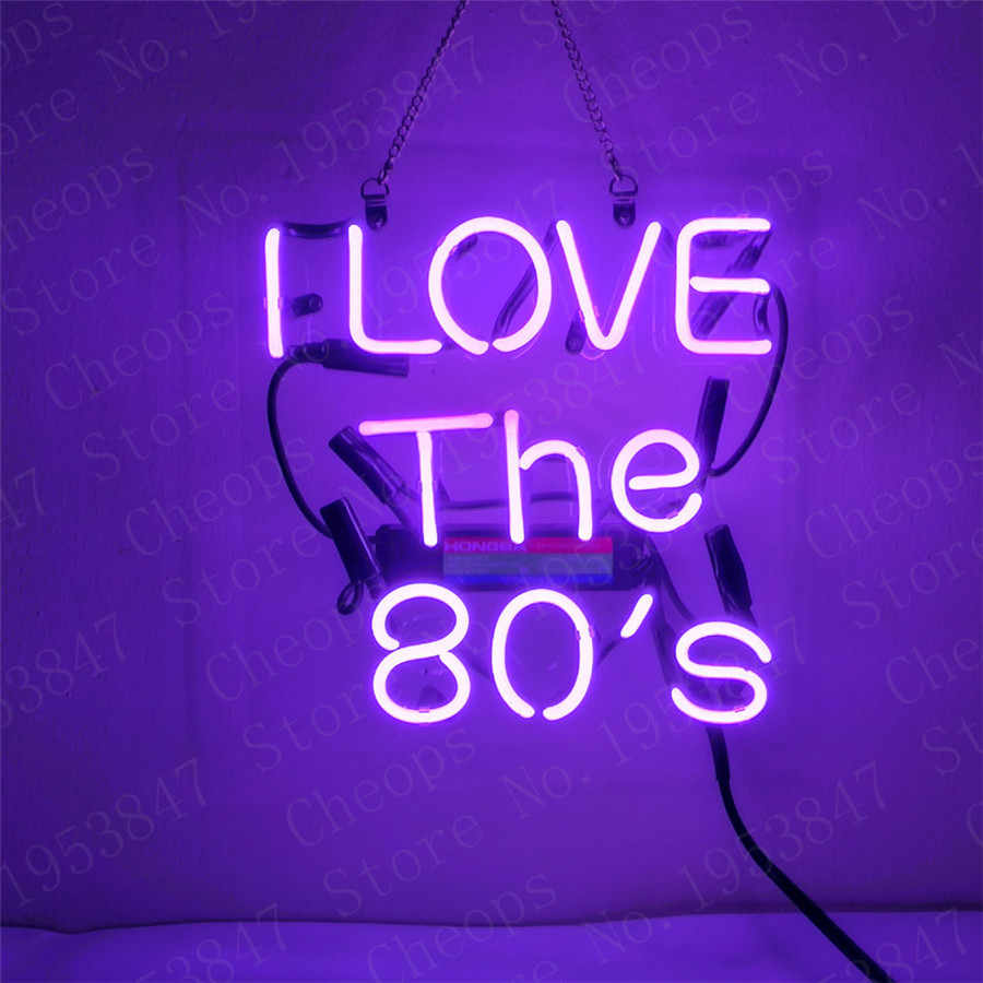 ICH Liebe Die 80ER Geschenk Neon Zeichen Echt Glasrohr Mond und Sterne Bier Bar Pub Homeroom Girlroom Party Decor 10x10