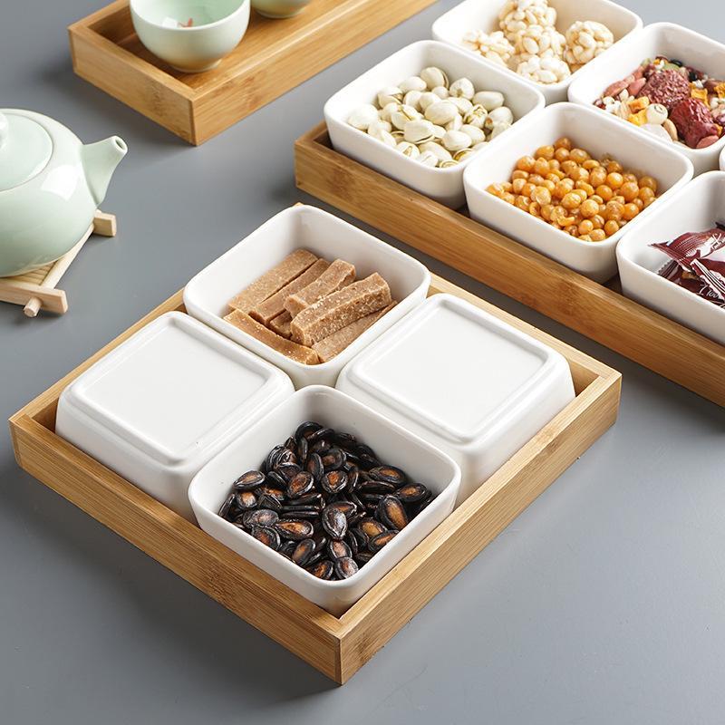Многофункциональная керамическая коробка бамбуковые поддоны для хранения домашней кухни еда десерт чайная тарелка гайка закуска Конфета Органайзер украшение поднос для сервировки-2