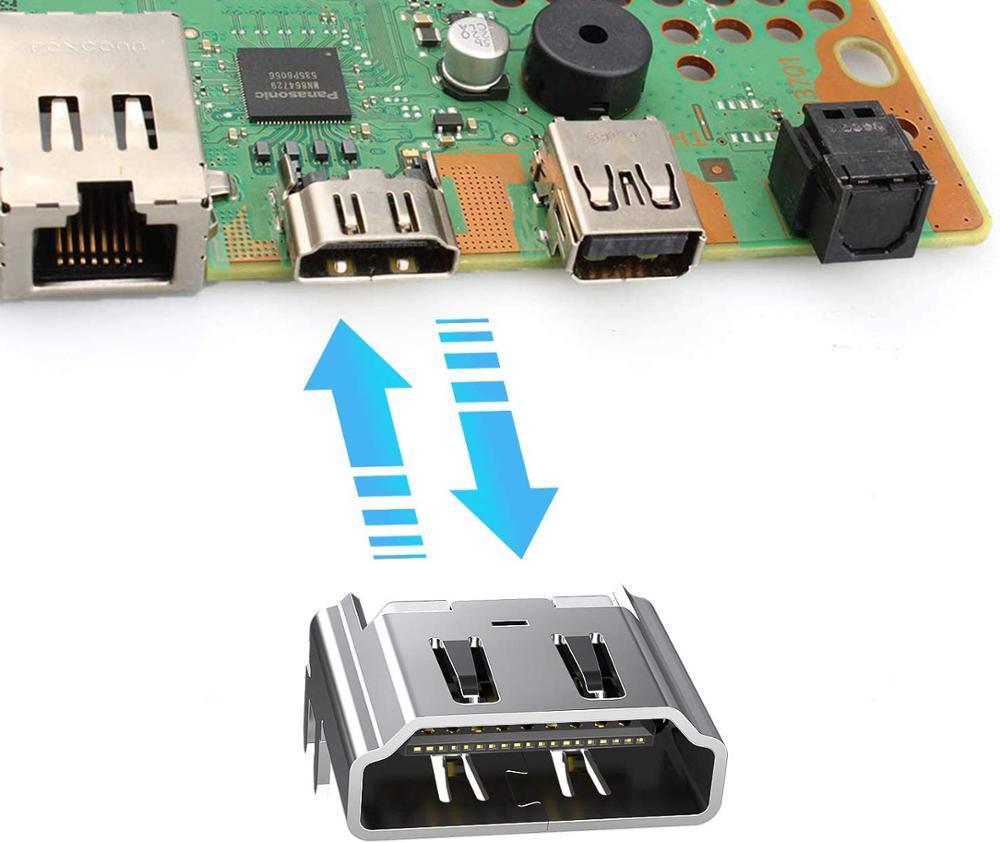Купить с кэшбэком 10pcs HDMI Port Socket Interface Connector for Playstation 4 Play Station 4 PS4 ps 4 Repair Part Motherboard Port Jack Connector
