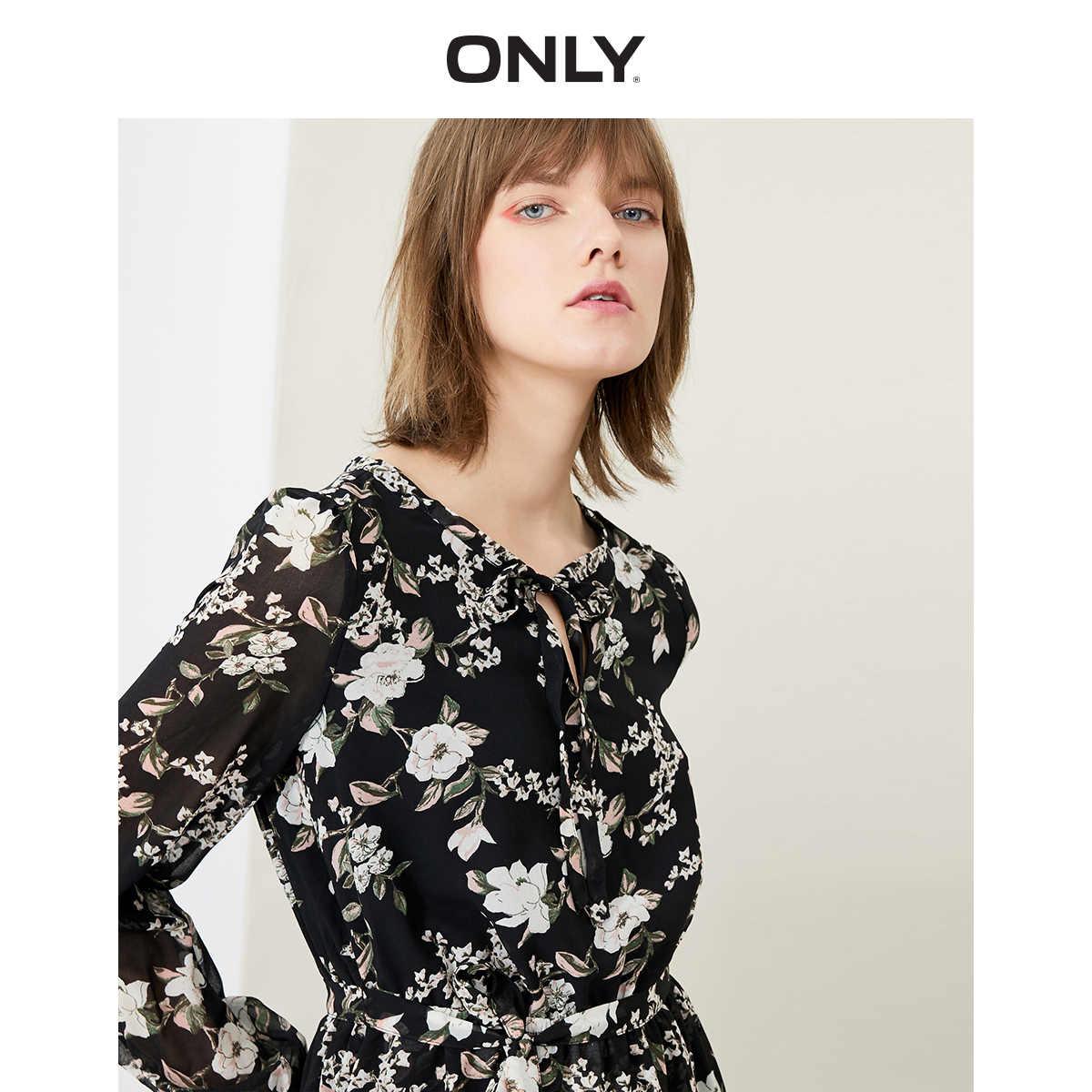 女性だけの締めウエスト長袖花柄シフォンドレス | 119107628