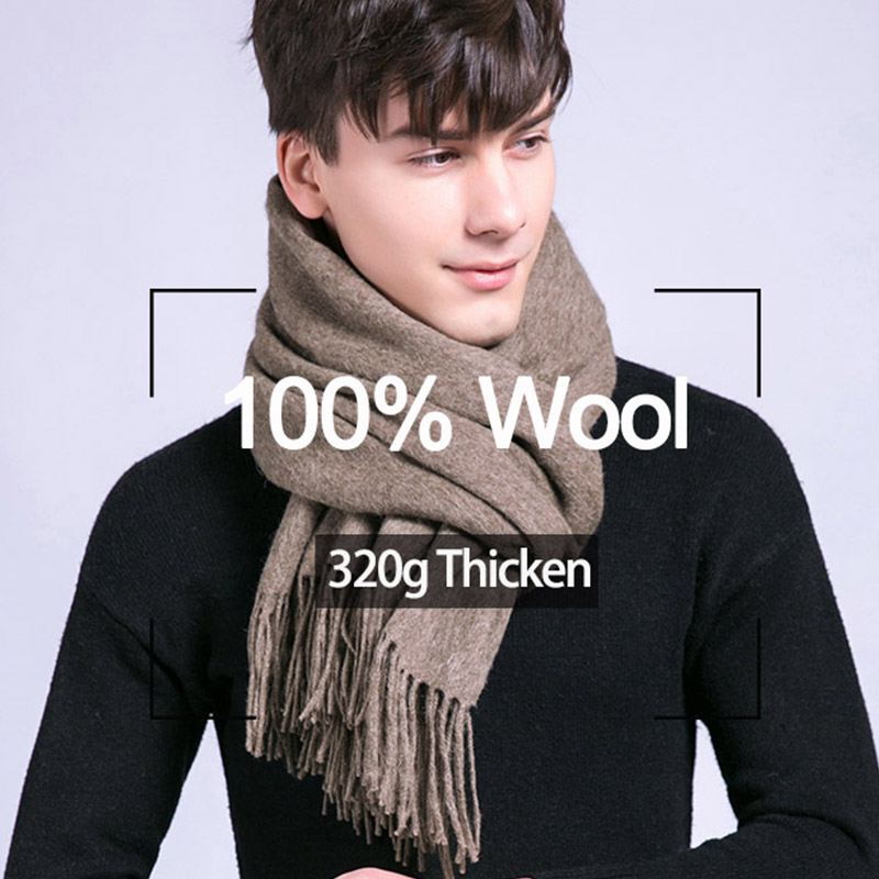 Winter Male Tassels Scarf  Warm Cashmere Scarves Men Big 100% Pure Wool Soft Shawl Wraps Luxury Brand High Quality Solid Scarf