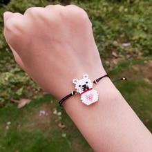 FAIRYWOO Cute Animals Bracelet Bear Women Handmade Jewelry Miyuki Bead Bracelets Heart Sweet Charms For Kids Gifts